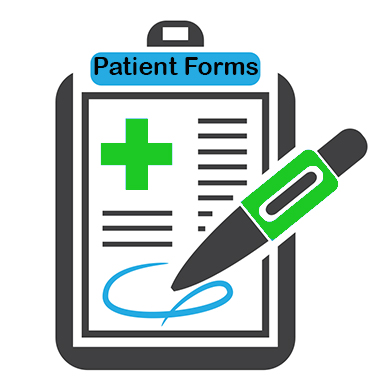 patient form attached to a clip board with pen