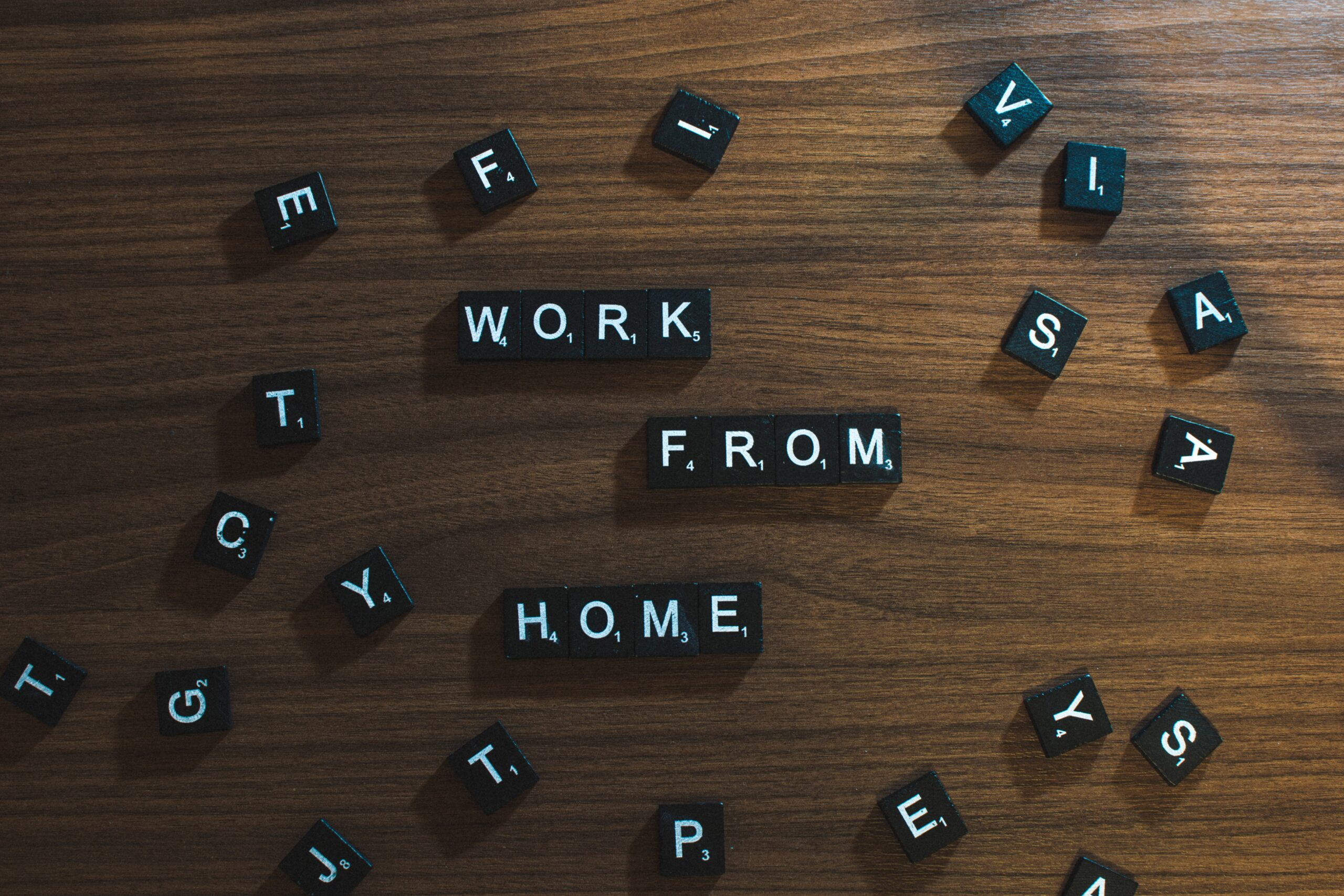 Work from home letter tiles.