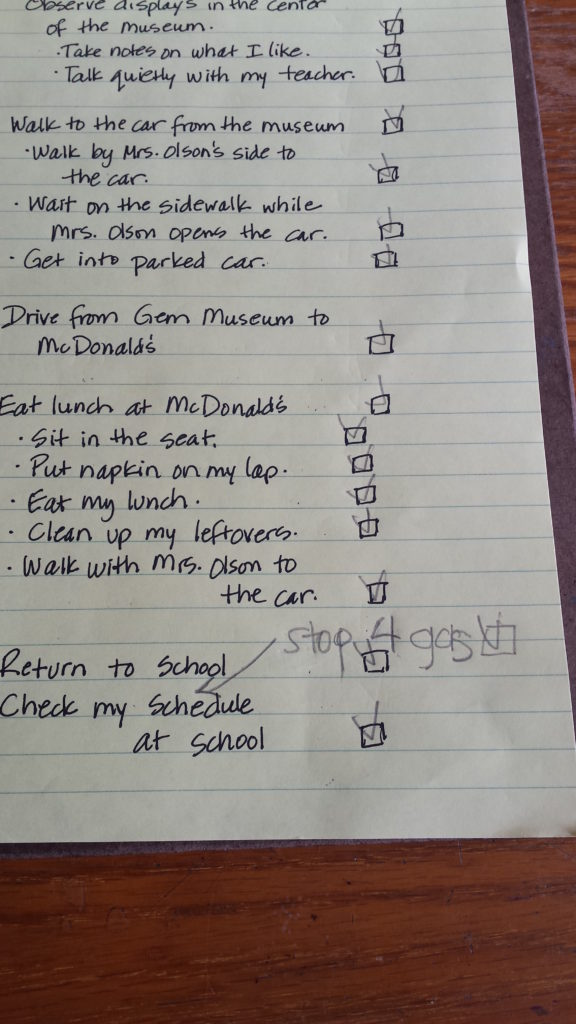Catherine Faherty Student's Schedule for Field Trip