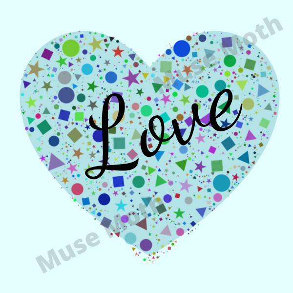The Word Love With a Blue Heart Background Instagram Post