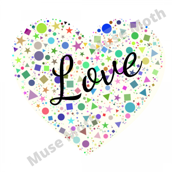 The Word Love With a White Heart Background Instagram Post