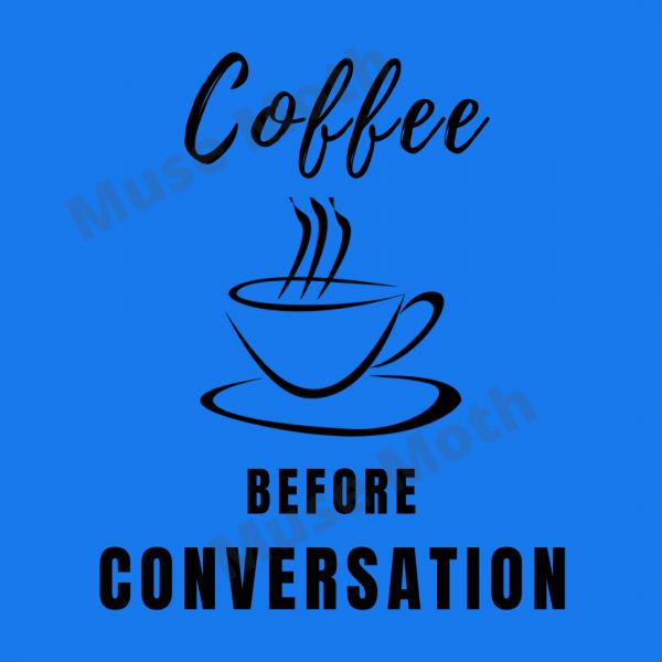 Coffee Before Conversation dark blue Instagram post with watermark