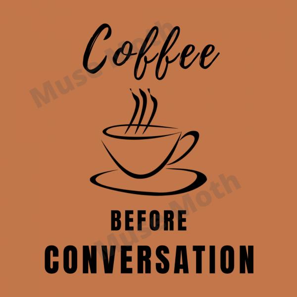 Coffee Before Conversation brown Instagram post with watermark