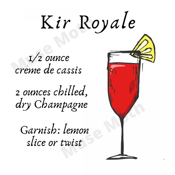 Kir Royale Drink Recipe Instagram graphic with Muse Moth watermark