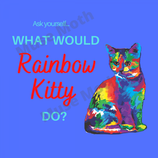 What Would Rainbow Kitty Do? Blue Instagram post