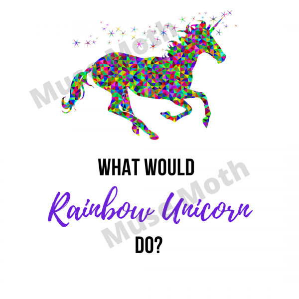 What would rainbow unicorn do? Instagram post white background with watermark