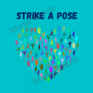 Strike a Pose Yoga Instagram blue with watermark