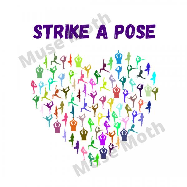 Strike a Pose Yoga Instagram white with watermark