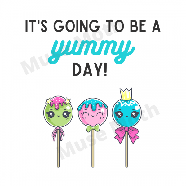 It's Going to Be a Yummy Day! Instagram graphic with blue font and watermark