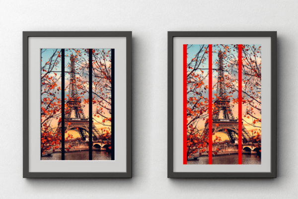 two prints of paris hanging on wall