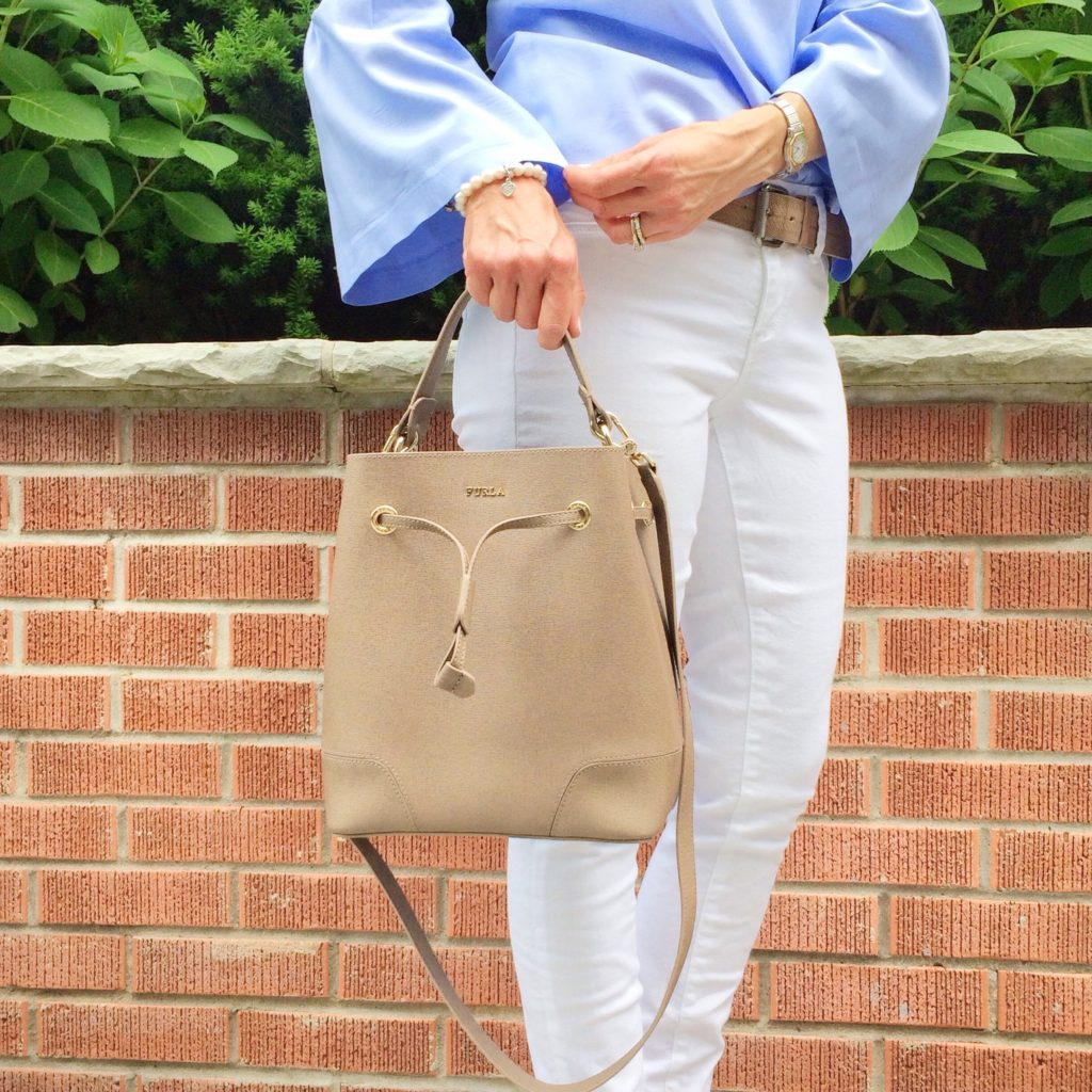 Bell Sleeve Top from Banana Republic and Stacy Bucket Bag from Furla