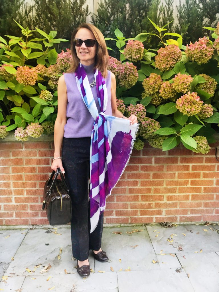 Repeat Cashmere Top, Cambio Pants, Kala Scarf