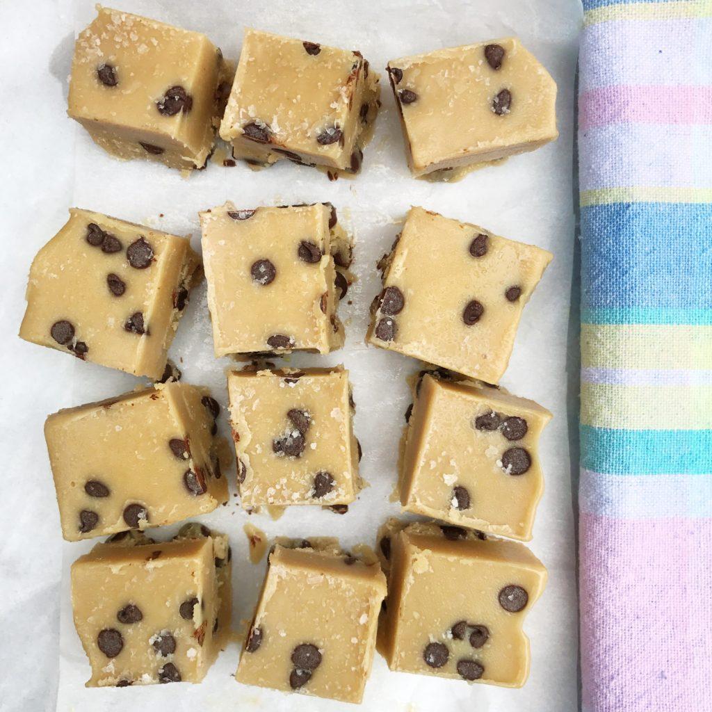 No Bake Salted Tahini Cookie Dough Fudge