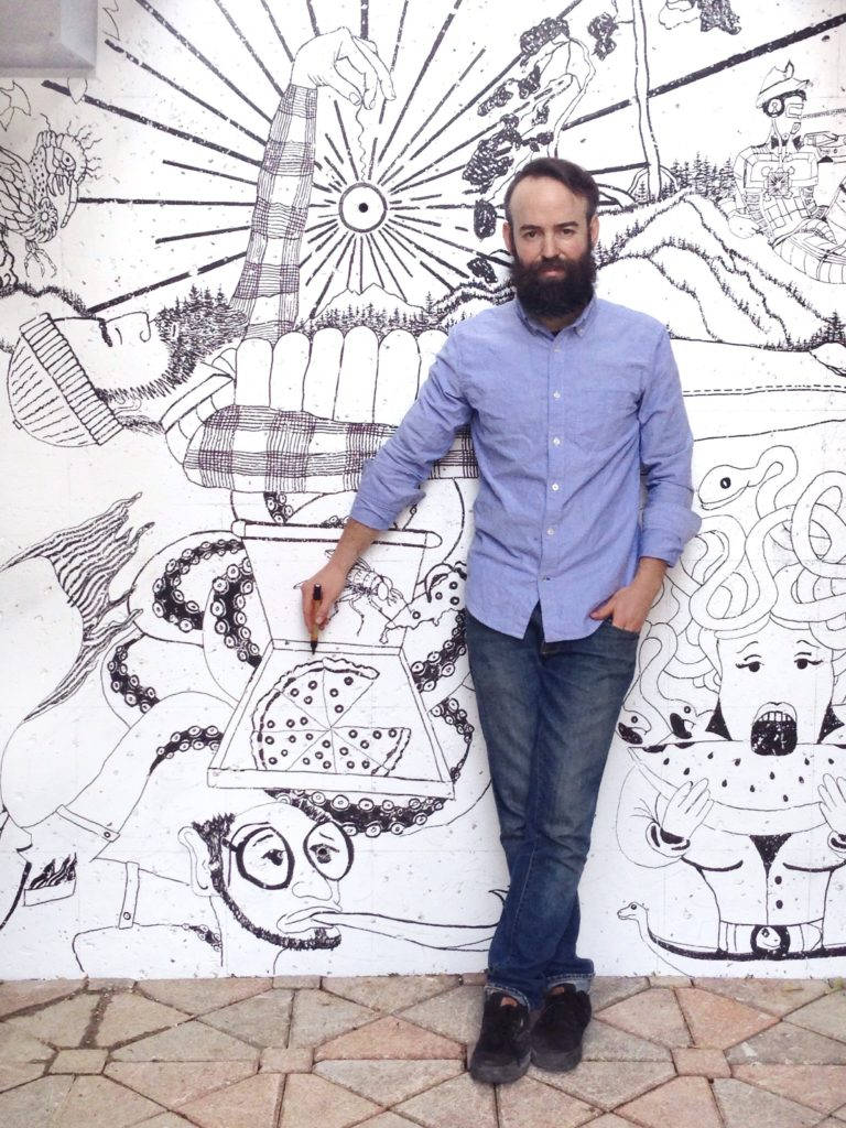 James C. Jennings Next To His 'Go Swimming' Mural In Toronto's Forest Hill Village