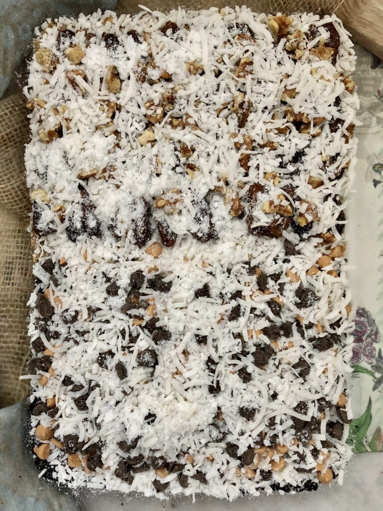 Hello Dollies (Magic Cookie Bars) With Dates And With Chocolate Chips