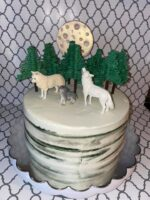 White Wolf theme. Everything is edible (minus the wolf figures and the stick to the moon)