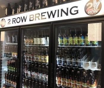 The cold beer fridge at 2 Row Brewing in Midvale, Utah.