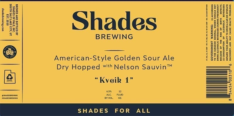 An example of Shades Brewing's new label. A consistent look will accompany each label. Only the color scheme and name will be different.