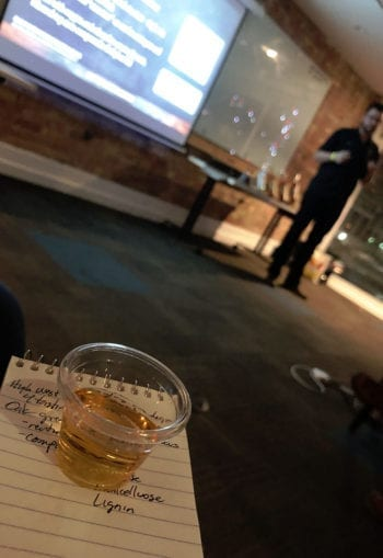 Isaac Winter, lead distiller at High West, conducts a whiskey sensory workshop at the Utah Brew Fest.