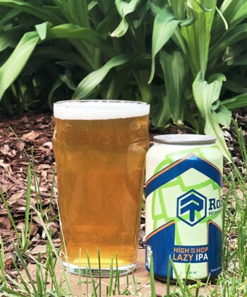 """High on the Hop, a 5% """"lazy"""" IPA that's bursting with tropical fruit aromas and flavors."""