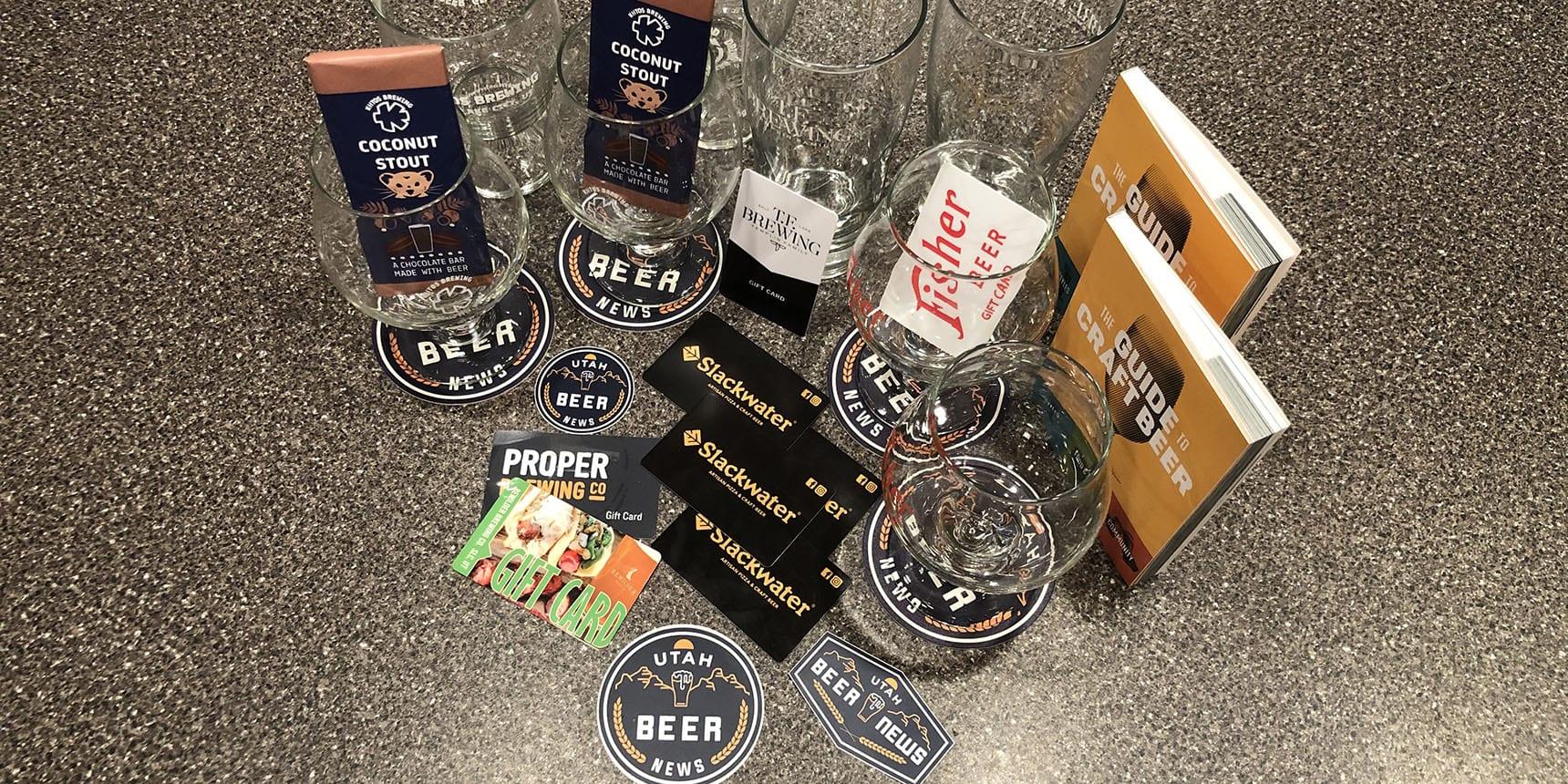 A sampling of goodies included in Utah Beer News Prize Packs. We randomly selected four survey respondents to win some Utah craft beer merchandise.