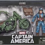 Marvel Legends Series 6″ Captain America Action Figure With Motorcycle World War II, Shield And Helmet