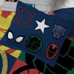 Marvel Superheroes Logo 7 Piece Full Size Bed Set Includes Comforter And Sheet Set 6