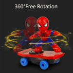 Spider Man Electric Skateboard with Automatic Rotation Sound and Lights 6-inch 6