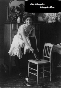 Young woman (prostitute?) shown as she dresses. 1900's image