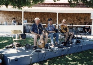 The Big Three!  Liam Clancy, Louis Killen, and Cliff Haslam at the 2001 Mystic Sea Music Fest.  Photo taken by Kitsie Reeves.
