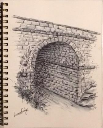 Pen & ink drawing of Lennox Bridge