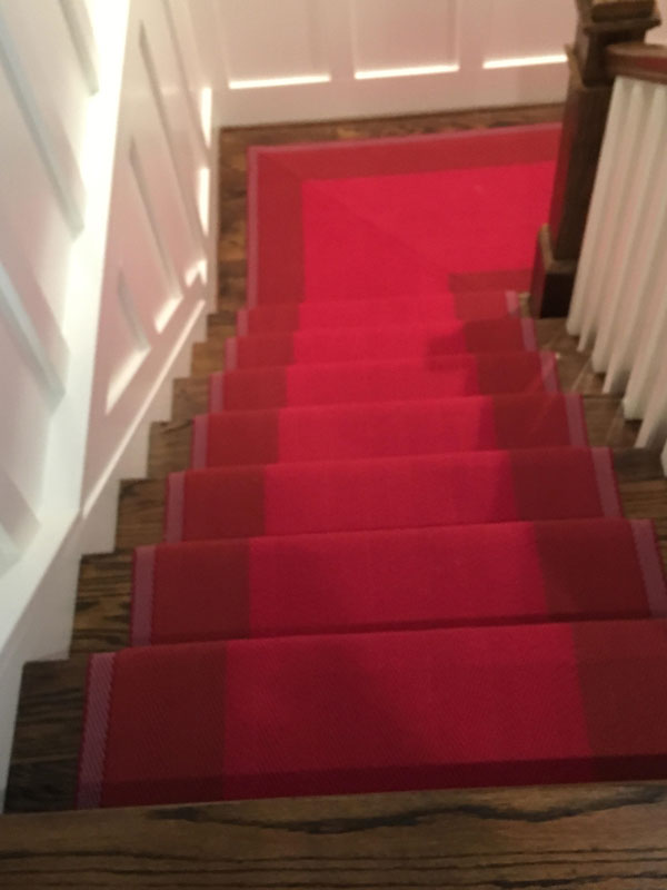 Very Dramatic Red Runner on Staircase by Farsh