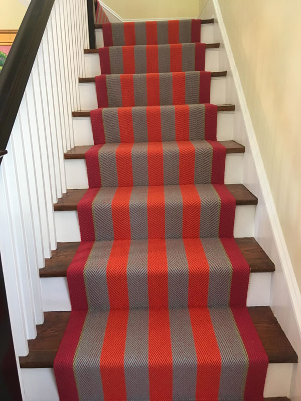 Red and Grey Striped Runner by Farsh Stair Master