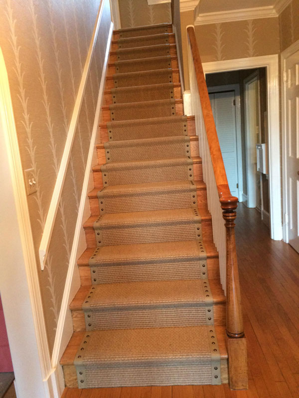 Neutral Riveted Stair Runner Idea and Install by Farsh Carpet