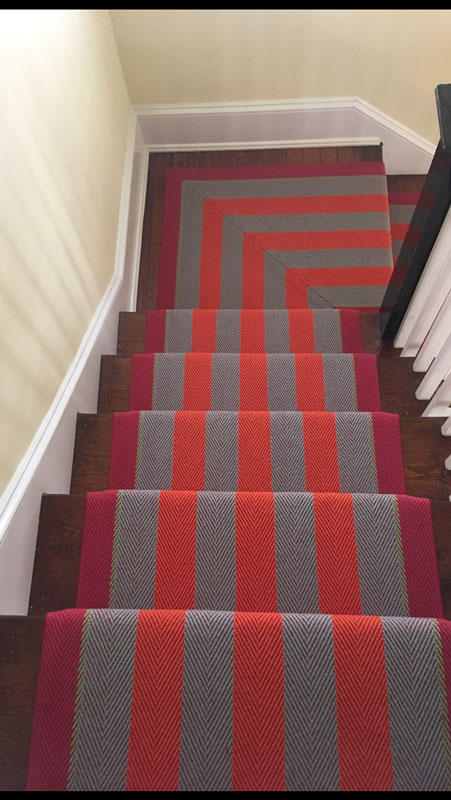 red striped runner stairs by Farsh