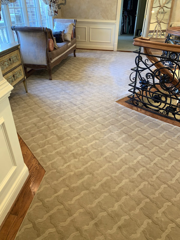 Elegant Custom Sitting Area Carpet at the Top of Stairs by Farsh Carpets