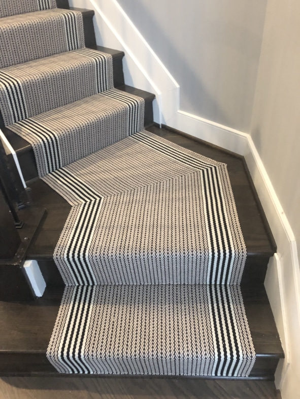 Thin and Thick Striped Neutral Stair Runner Installed by Farsh Carpets & Rugs