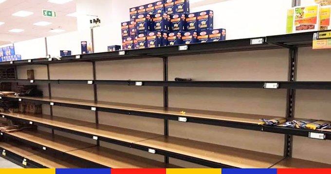 coronavirus empty pasta shelves Italy