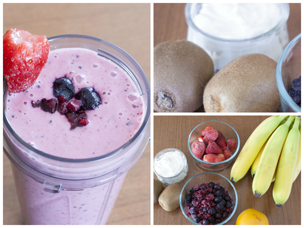 a purple smoothie and its ingredients 2