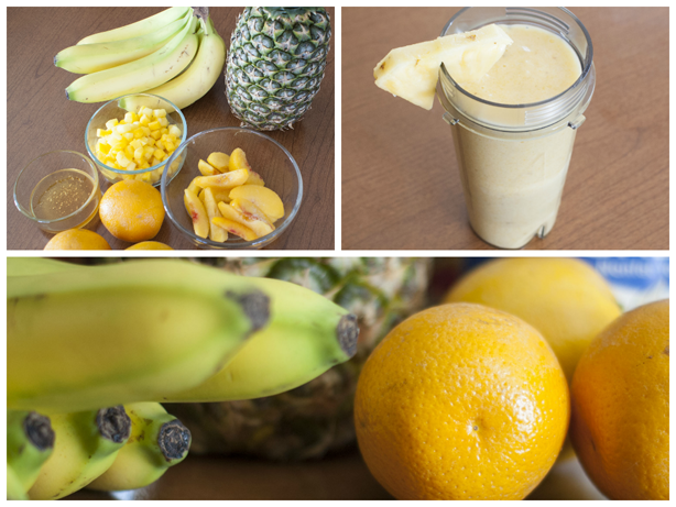 a yellow smoothie and its ingredients