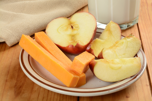 plate of sliced apples and cheese 2