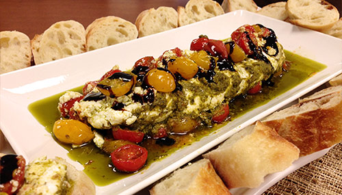 goat cheese dips on a plater with bread 2