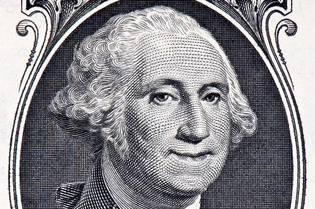smiling George Washington on a dollar 2