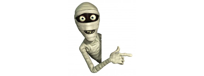 cartoon of a mummy pointing to the right
