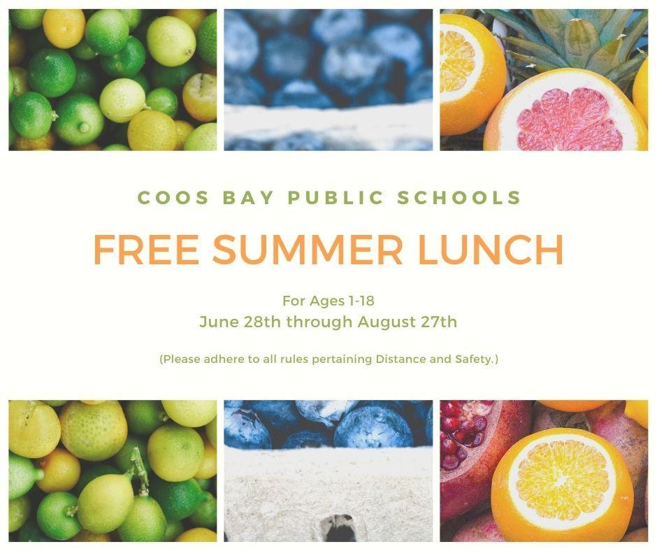 Coos Bay Public Schools Free Summer Breakfast And Lunch