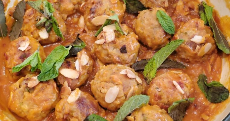 Meatballs in Apricot Sauce with Mint and Almonds