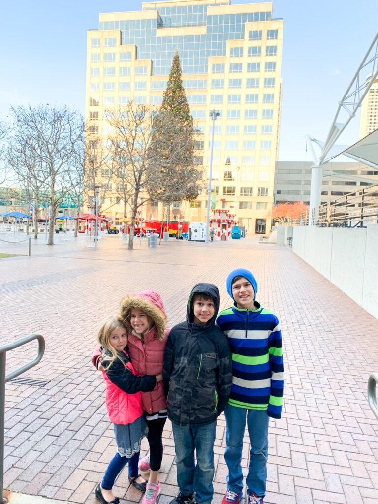 children in front of Crown Center in Kansas City Missouri