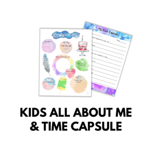 Kids All About Me & Time Capsule Worksheets Printables