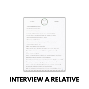 Interview a Relative printable