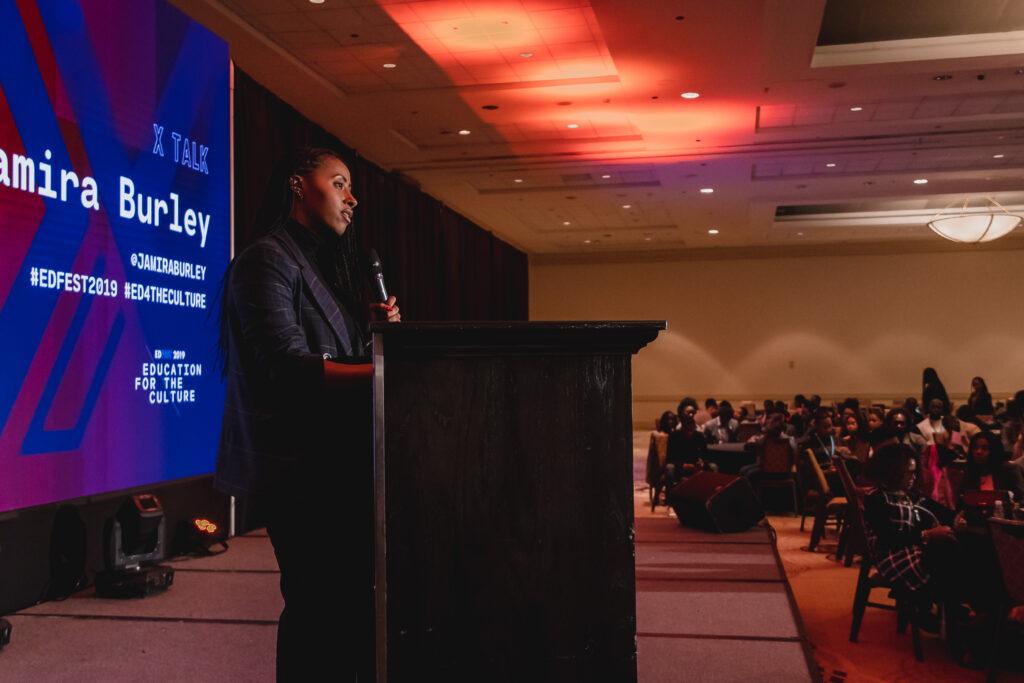 Jamira Burley speaking at EdFest 2019. Photo courtesy of EdFest.